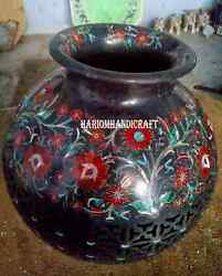 12 Marble Black Pot Marquetry Inlay Arts Carnelian Beautiful Decor Gifts H2784