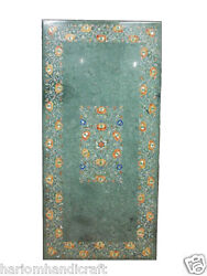3'x6' Green Marble Dining Table Top Mosaic Rare Inlay Floral Art Furniture H406
