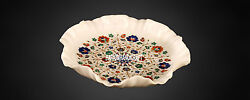 17'' Marble Inlay Fruit Bowl Fine Work And Free Round Plate Decorative Kitchen Art