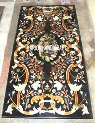 Black Rare Marble Conference Dining Table Top Beautiful Gifts Inlaid Design Arts