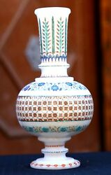 White Antique Marble Flower Pot Jar Semi Precious Hakik Floral Inlay Gifts H1959