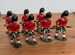 7 X Antique John Hill And Co Scottish Highland Regiment Lead Soldiers Britains