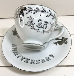 Lefton Fine China Hand Painted 25th Wedding Anniversary Gift Tea Cup And Saucer.