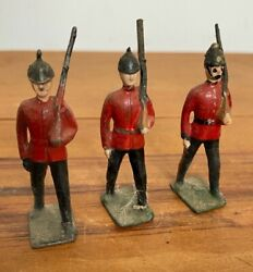 3 X Antique John Hill And Co Wwi Marching Ceremonial Lead Soldiers Britains