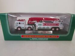Hess 2010 Miniature Fire Truck With Ladder Mib Display Base Works Lotd