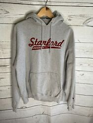 Vintage Stanford University Champion Atheltic Gray Hoodie Embroidered Mint