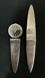 Bvlgari Bulgari. A Sterling Silver Timepiece And Letter Opener Set. Very Rare