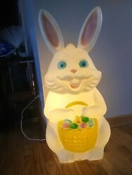 Vintage Empire 34 Large Bunny Blow Mold With Eggs Basket Lights Up Easter Yard