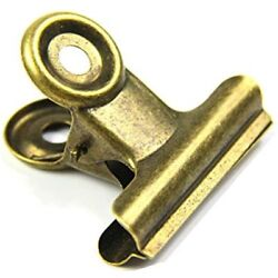 Antique Brass Small Bulldog Clips Coideal 30 Pack Hinge 0.87 Inch Metal Binder