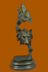 Large Two Wolves Head Bust Classic Wildlife Artwork Bronze Sculpture Statue Gift