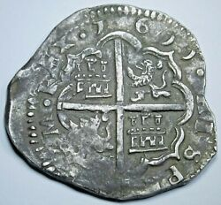 1611 Spanish Silver 4 Reales Antique 1600's Rare Dated Colonial Pirate Cob Coin