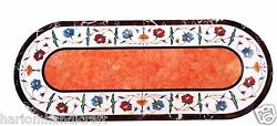 Taille 2.5 And039x5and039 Marbre Dandicircner Table Top Marqueterie Orange Gem Inlay Dandeacutecor Maison