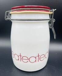 Vintage Wheaton Milk Glass Tea Canister Kitchen Storage White Red Bail Lid 5.75andrdquo