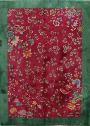 Antique Vegetable Dye Floral Art Deco Nichols Chinese Area Rug Hand-knotted 9x11