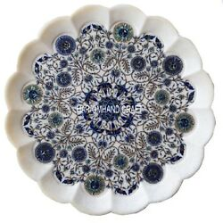 15and039and039 White Marble Dish Plate Intricate Floral Lapis Inlay Fine Interior Art Gift