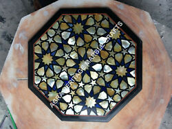 Marble Bedroom Center Table Top Lapis Lazuli Inlay Mosaic Interior Decor H5392