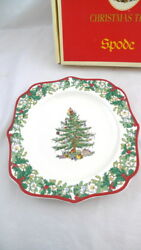 Spode 70th Anniversary Christmas Tree Plate With Box 2008 Square 9