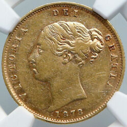 1878 Great Britain Antique Uk Queen Victoria Gold 1/2 Sovereign Coin Ngc I89089