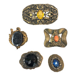 Vintage Vtg Victorian Gem Jeweled Multicolored Pin Brooch Jewelry Lot