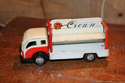 Vintage Crown Soda Japanese Friction Delivery Truck Tin Toys Rare