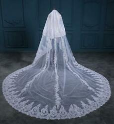 Cathedral Romantic Lace Bridal Veils White Ivory 3m Two Layer Women Wedding Veil