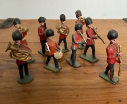 9 X Antique John Hill And Co Foot Guards Military Band Lead Soldiers Britains