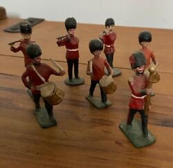 7x Antique Foot Guards Fife Drums Military Band Lead Soldier Figures Britains