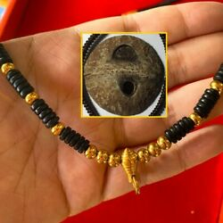 One Eyed Coconut Shell Necklace Gold Pigment Fattening Thai Amulet Life Protect