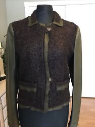 Roberto Cavalli Mohair And Wool Blend Leather Jacket Size M/ Us 8 - One Of A Kind.