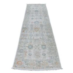 2and03910x10and0391 Beige Angora Oushak With Floral Motifs Hand Knotted Wool Rug R56349