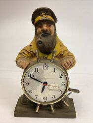 Mastercrafters Salty Dogelectric Lighted Pipe Novelty Motion Clock Ship Captain