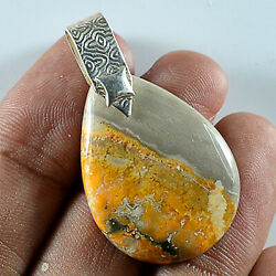Pear Natural Bumble Bee Jasper Jewelry 925 Sterling Silver Pendant Lg251