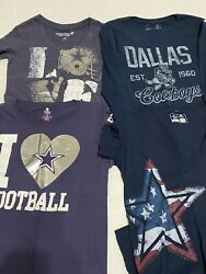 Lot Of 7 Dallas Cowboys Her Style, Pink, Team Apparel Women's T-shirts Med - Euc