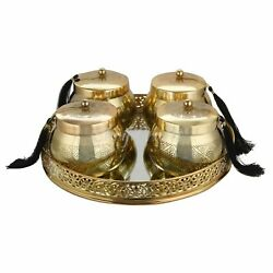 Metal Mirror Tray Round and Beautiful Container for Dry Fruits and Cookies Gold