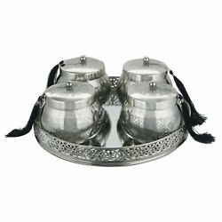 Metal Mirror Tray Round with Container for Dry Fruits and Cookies Silver
