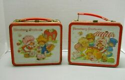Vintage 1980 And 1981 Strawberry Shortcake Aladdin Metal Lunch Boxes Set Of 2