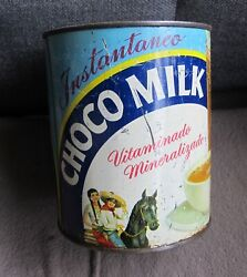 Antique Choco Milk Pancho Pantera Cocoa Empty Tin Can Mexican Advertising 40and039s
