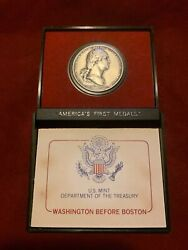 Americas First Medals Washington Before Boston In Holder, Pewter U.s. Mint, 1980