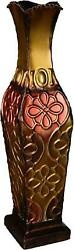 Floral Decorative Vase 17in Tall Home Decor Large Big Red Gold Flower Metal
