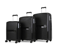 Ginzatravel Anti-scratch Pp Material Large Capacity Black Luggage Suitcase