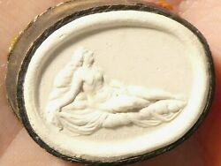 19thc Classic Nude Lady Plaster Moulded Tassie Intaglio Seal Grand Tour P23
