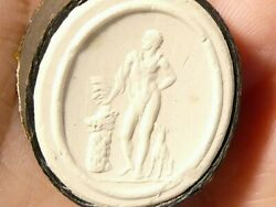 19thc Man Posing With Dog Plaster Moulded Tassie Intaglio Seal Grand Tour P19