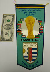 Old Uruguay Soccer Football Association Auf Pennant 1974 Germany World Cup