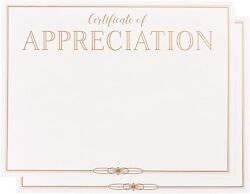 Certificate Of Appreciation Paper With Gold Foil Border - White 8.5x11 In, 48 P