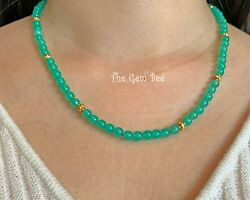 5.5mm Imperial Chrysoprase Sphere Bead 18k Solid Gold 19 Necklace