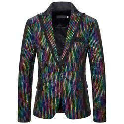 Men Sequins Formal One Button Suit Blazer Coat Christmas Party Stage Jacket Tops