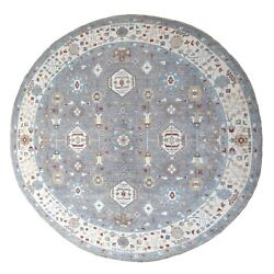 15and039x15and039 Gray Peshawar With Heriz Design Shiny Wool Round Hand Knotted Rug R67184