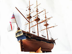Vessel English Of Wood Ship Mounted Of 1800 Assembled By Hand Patented