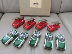 Vintage Hans Schumann Friction Tin Toy Police Cars / Fire Engines Boxed - Rare