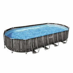 Bestway 24 Ft X 12 Ft X 48 In Power Steel Frame Above Ground Swimming Pool Set